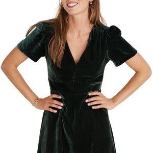 Madewell Green Velvet Mini Dress
